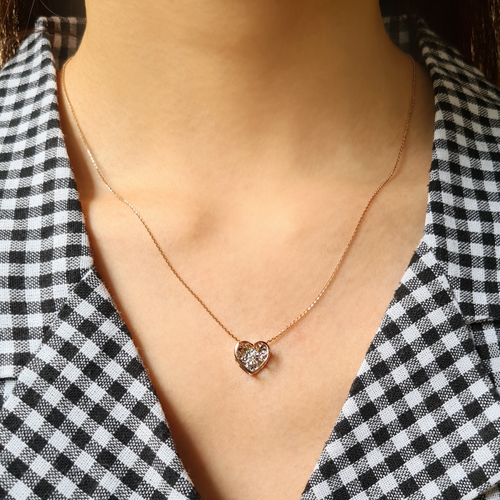 Encapsulated Heart Dancing Diamond Necklace Set in Rose Gold