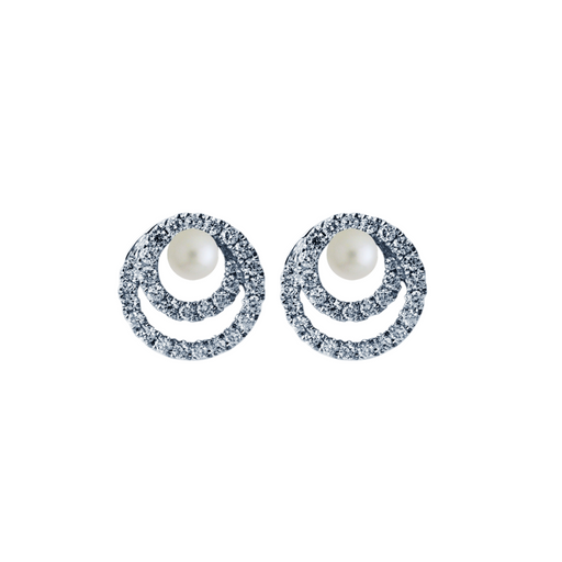 Twirl Pearl Diamond Earrings