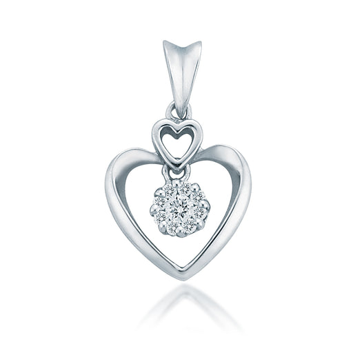 Lovey Hearts Dangling Diamonds Pendant (18K Gold)