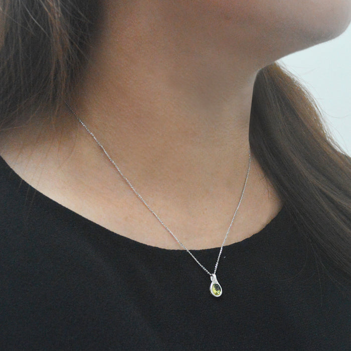 Lime Glow Peridot & Diamond Pendant (18K Gold)