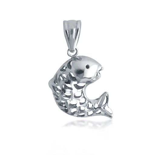 Auspicious Fish Pendant in 18K White Gold