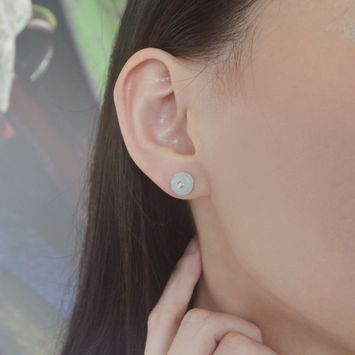 Auspicious White Jade & Diamond Earrings in 10K White & Rose Gold
