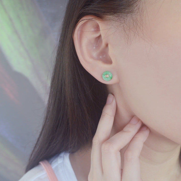 Auspicious Green Jade Earrings