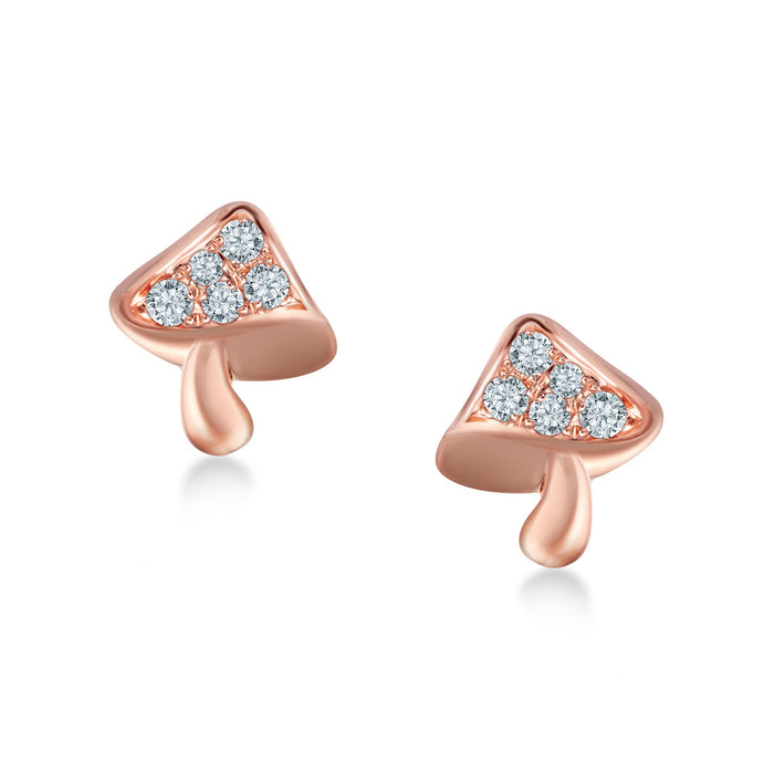 Jardin Pixie - Mushroom Diamond Earrings (10K Gold)