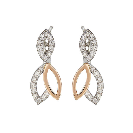 Aryan 2-Way Diamond Earrings in 10K White & Rose Gold