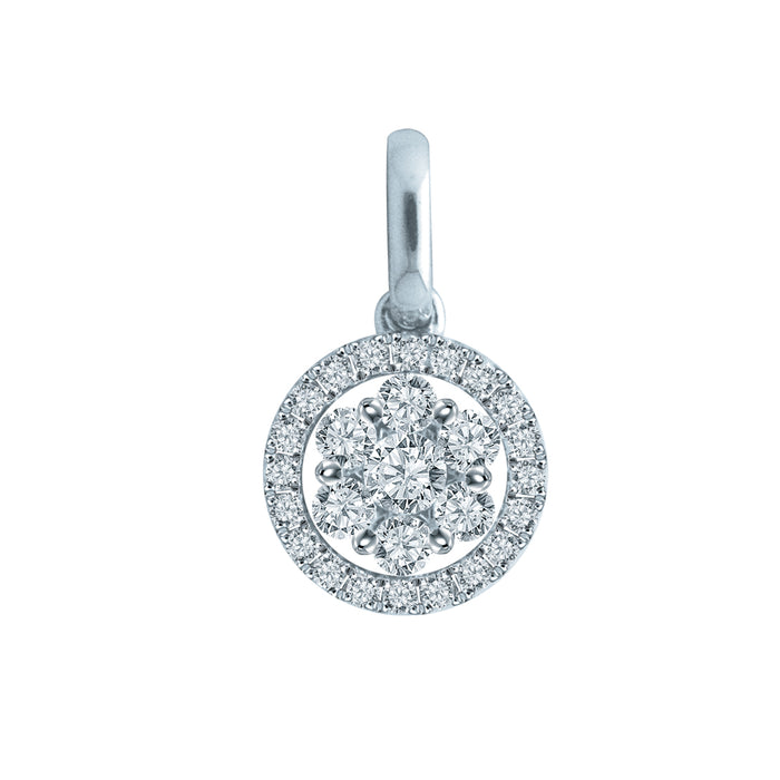 Blossom Sparkle Diamond Pendant in 18k White Gold