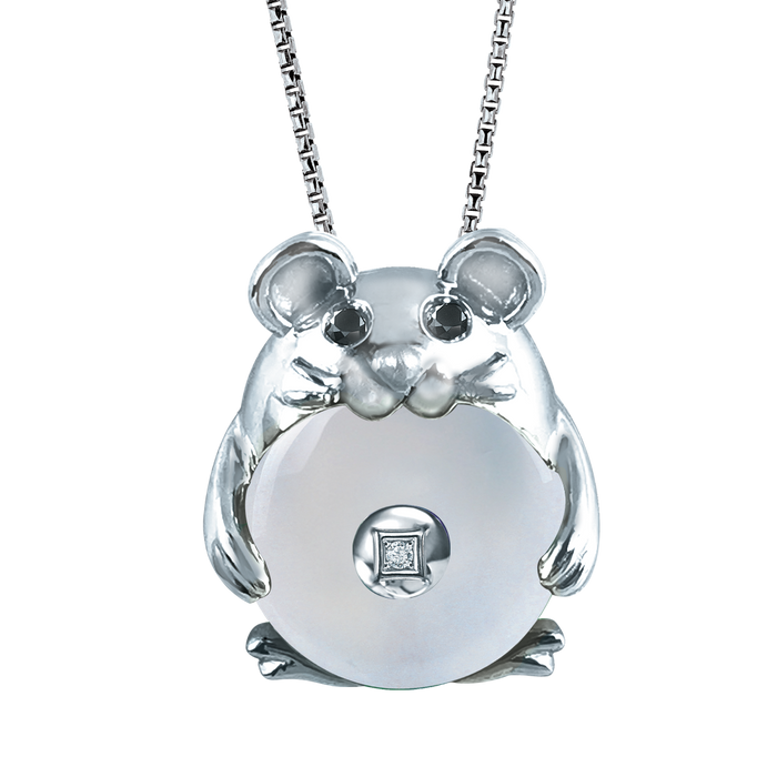 Rat of Fortune 10K Gold Diamond Pendant