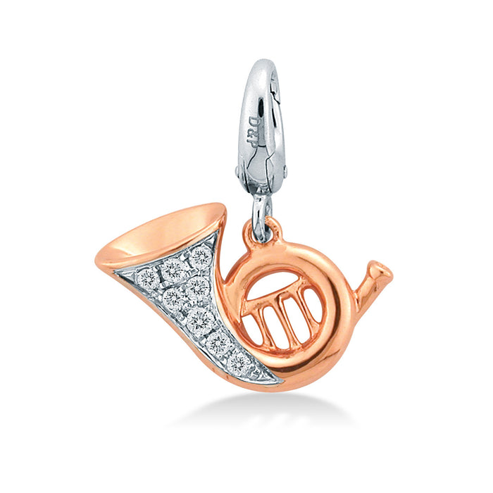 Cheery Trumphet Diamond Charm in 18K White & Rose Gold