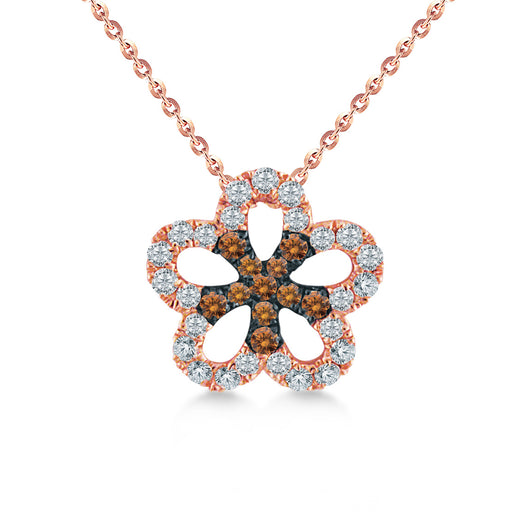 Blossom Diamond & Brown Diamond Pendant in 10K Rose Gold