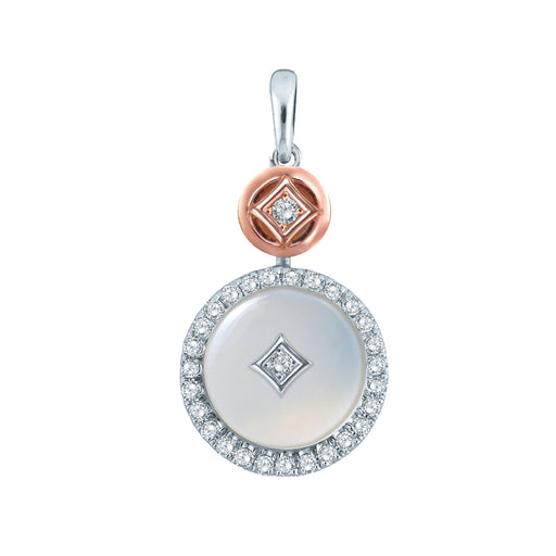 Auspicious White Jade & Diamond Pendant in 10K White & Rose Gold