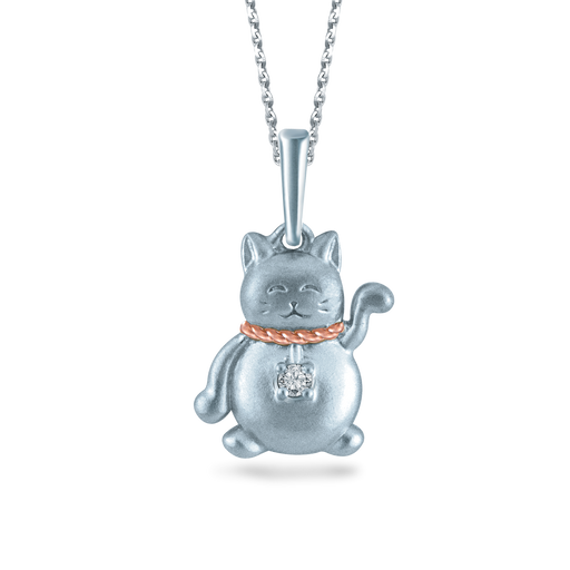 Fortune Cat Diamond Necklace (10K Gold)