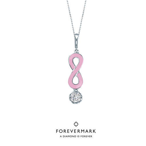 Forevermark Endlea Diamond Pendant with Pink Enamel (18K Gold)