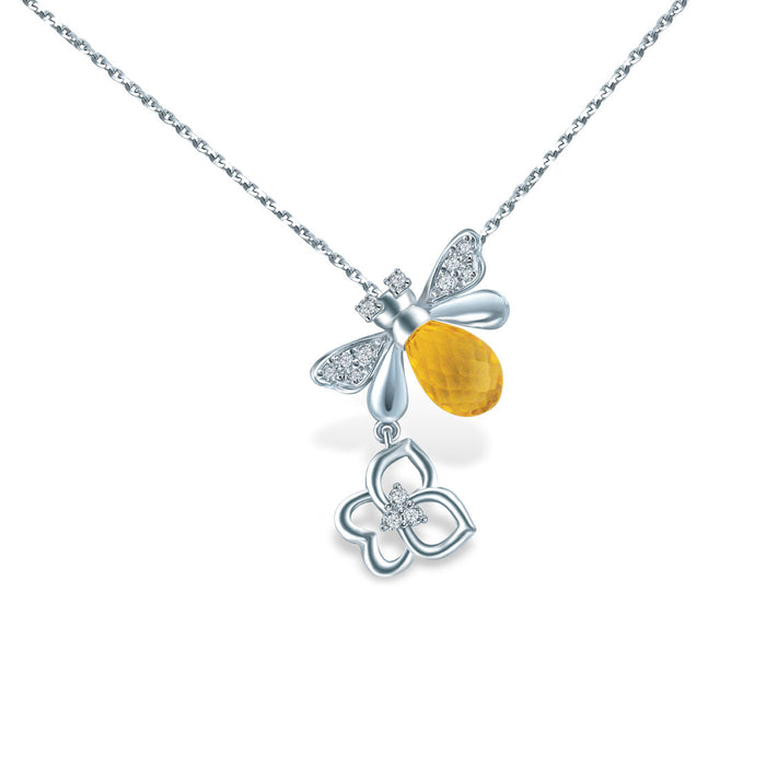 Amber Gleam Diamond & Gemstone Necklace in 10K White Gold