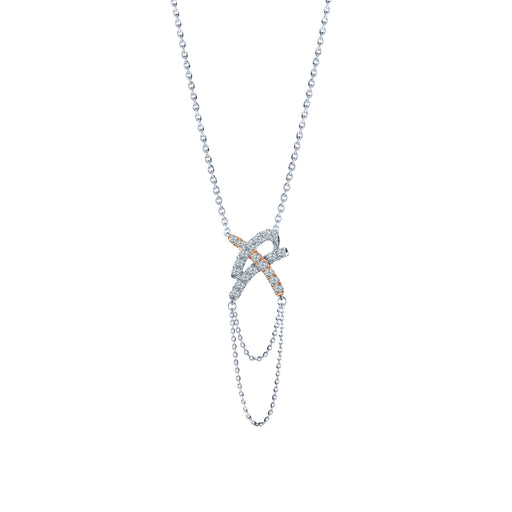 Axel Diamond Necklace in 10K White & Rose Gold