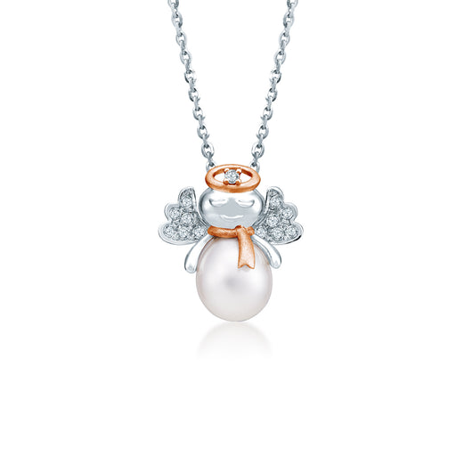 Christmas Pearly Angel Pearl & Diamond Pendant (10K Gold)