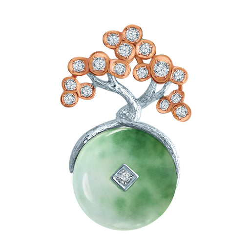 CNY Bonsai Wealth Jade & Diamond Pendant in 18k White & Rose Gold