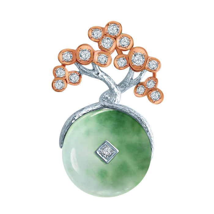 Bonsai Wealth Jade & Diamond Pendant in 10k White & Rose Gold