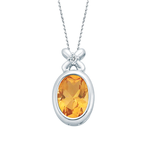 Titian Sunburst Citrine Diamond Pendant (18k Gold)