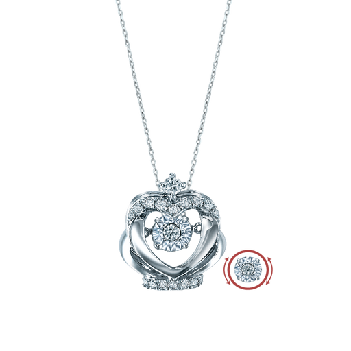 Dazzling Heart Sparkle Dancing Diamond Pendant (18K Gold)