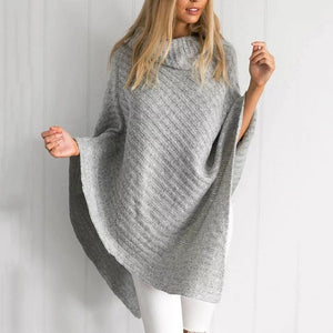 Knitted Winter Turtleneck Poncho