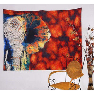 Bold Red Elephant Tapestry Wall Hanging, 78x58in
