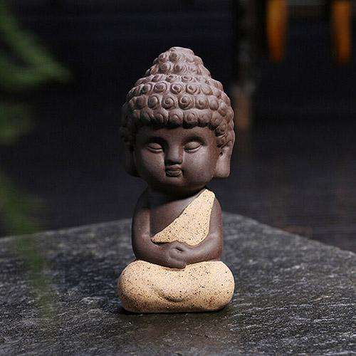 Cute Mini Happy Monk Statue, 3.7in – Choose a Color