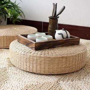 Natural Straw Yoga Meditation Cushion Zafu, 19in