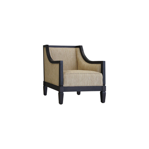 wood and fabric lounge chair open pore black wood