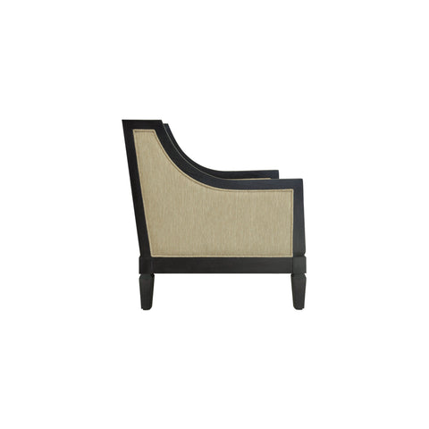 side view wood and fabric lounge chair open pore black wood