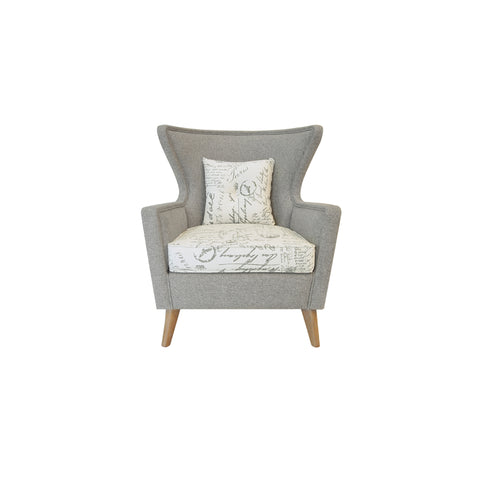 modern wing chair white and grey wood legs