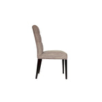 side view of a tufted dining chair with a parsons style with wooden legs