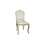 vintage french dining chair with wooden legs and trim, side view