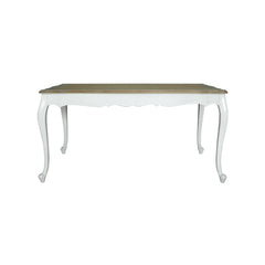 Indonesian furniture - white dining table with wood colored top