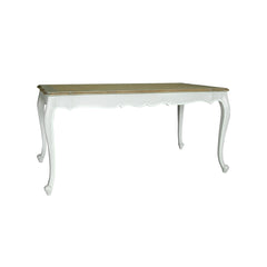 indonesian furniture - white dining table with wood colored top side view