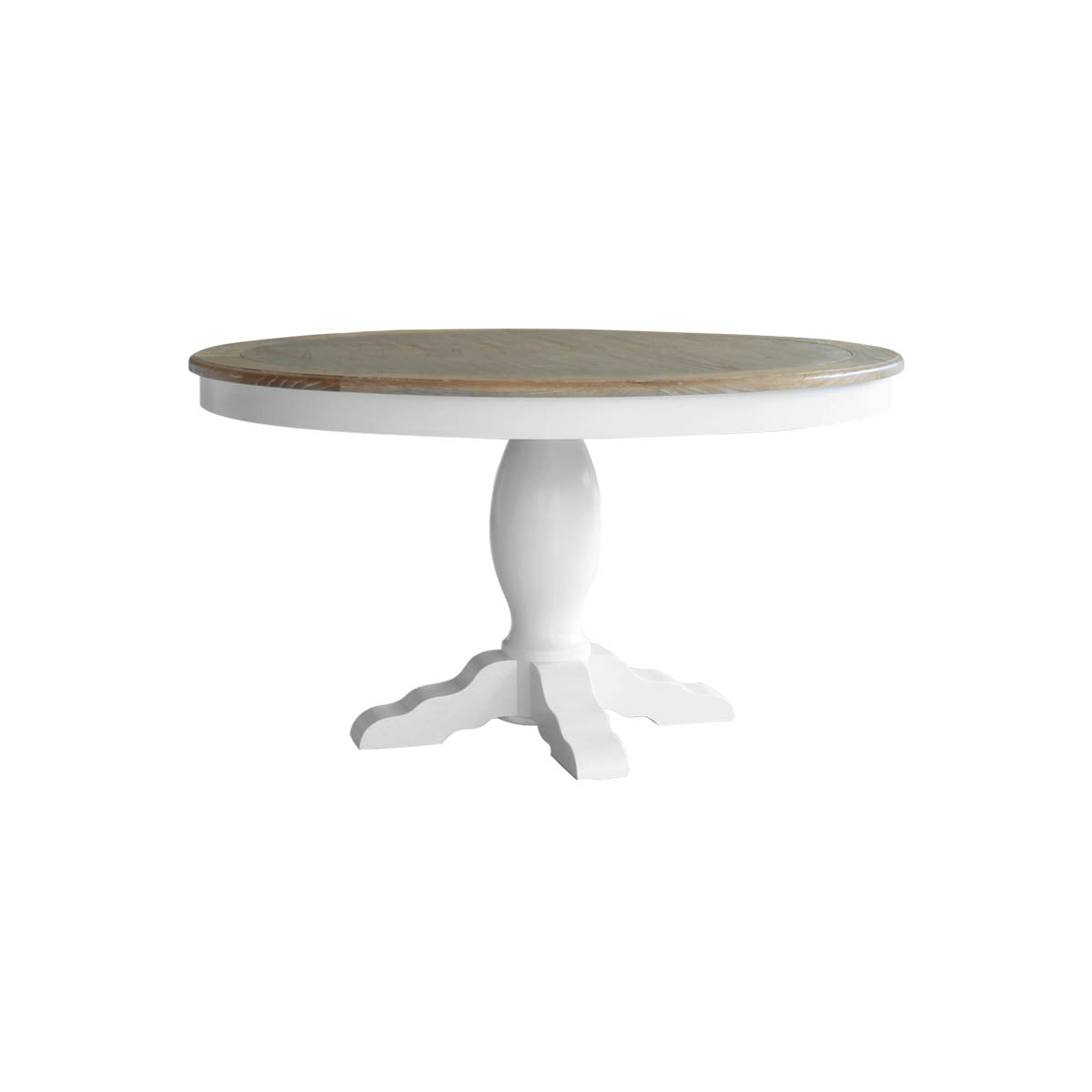 indonesian furniture - round white dining table with wood colored top