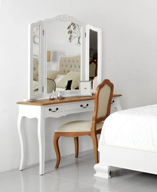 pretty and chic belle dressing table with folded mirror