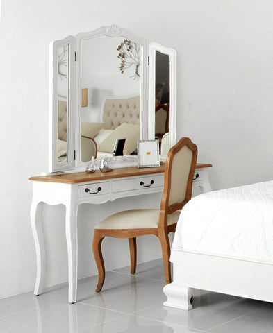 Belle Dressing Table with Folded Mirror - Vinoti Living