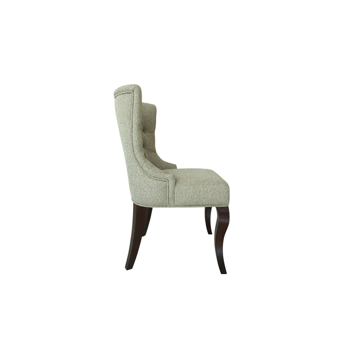 wingback dining chair with glossy curved legs, side view, made in Indonesia