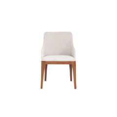 contemporary dining and armchair with straight wooden legs front view