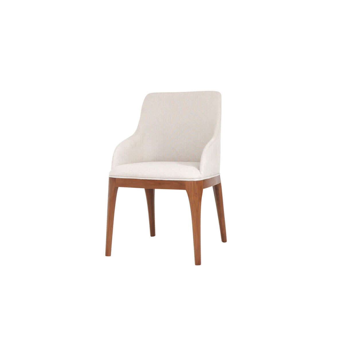 contemporary dining and armchair with straight wooden legs