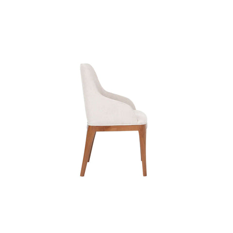 contemporary Indonesian dining and armchair with straight wooden legs side view