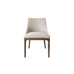 contemporary dining chair with straight wooden legs and a low backrest