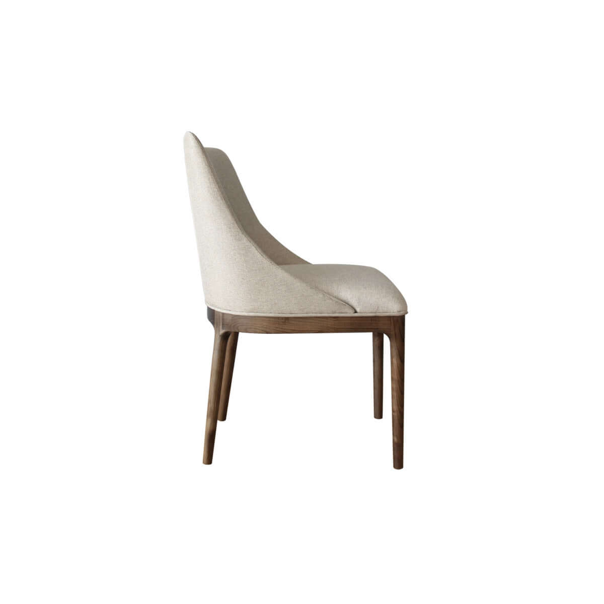 contemporary dining chair with straight wooden legs and a low backrest side view
