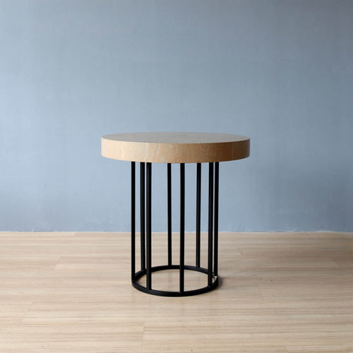 semi-industrial yet stylish dexter round side table