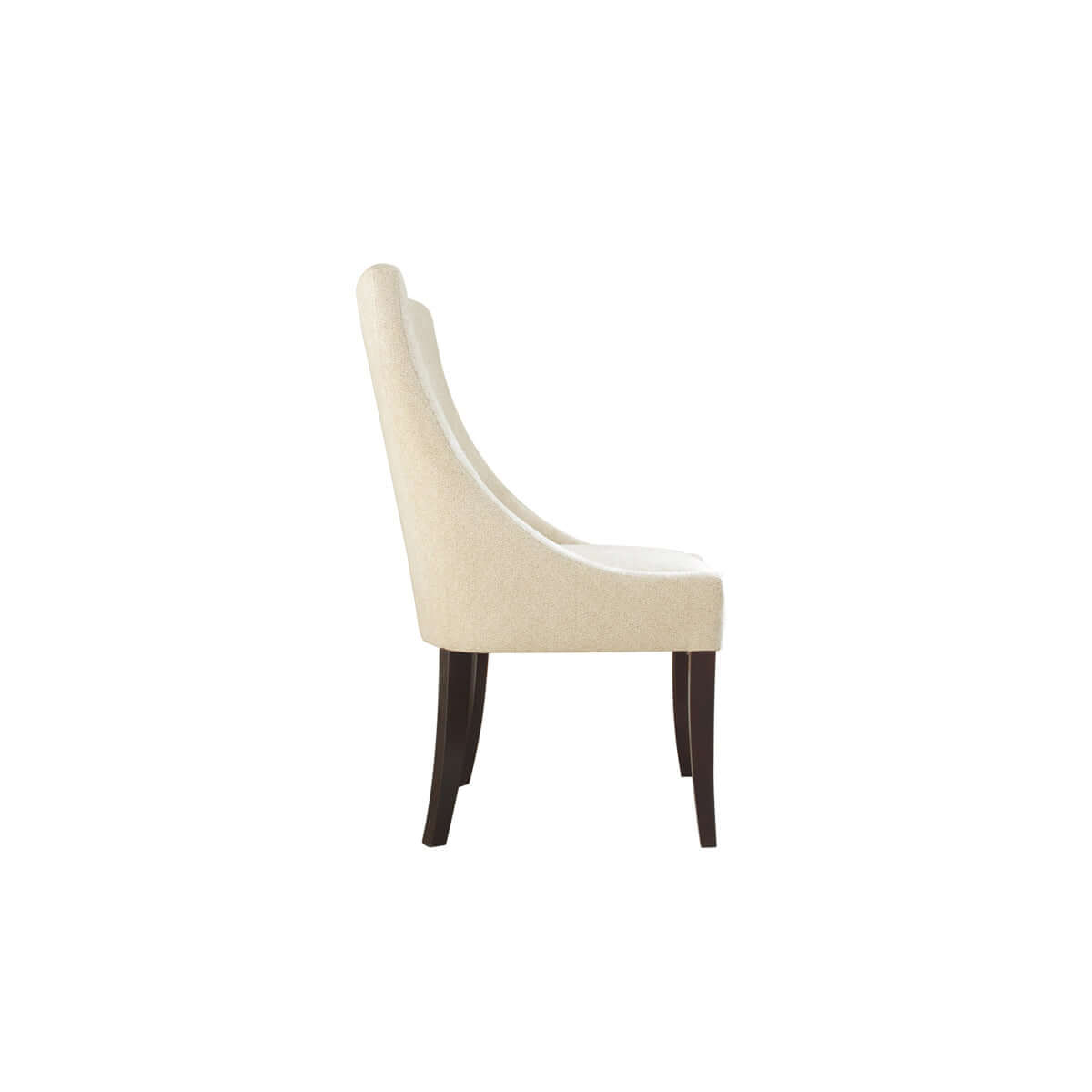 side view classy wood leg dining chair