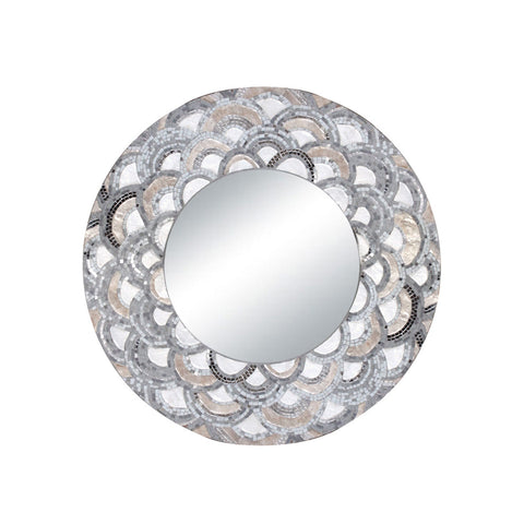 Eden Round Scalloped Mirror