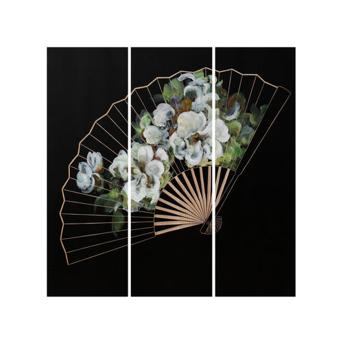 artwork and wall art - hiasan dinding - Floral Fan Black & White / Natural - vinoti living furniture and decor di indonesia