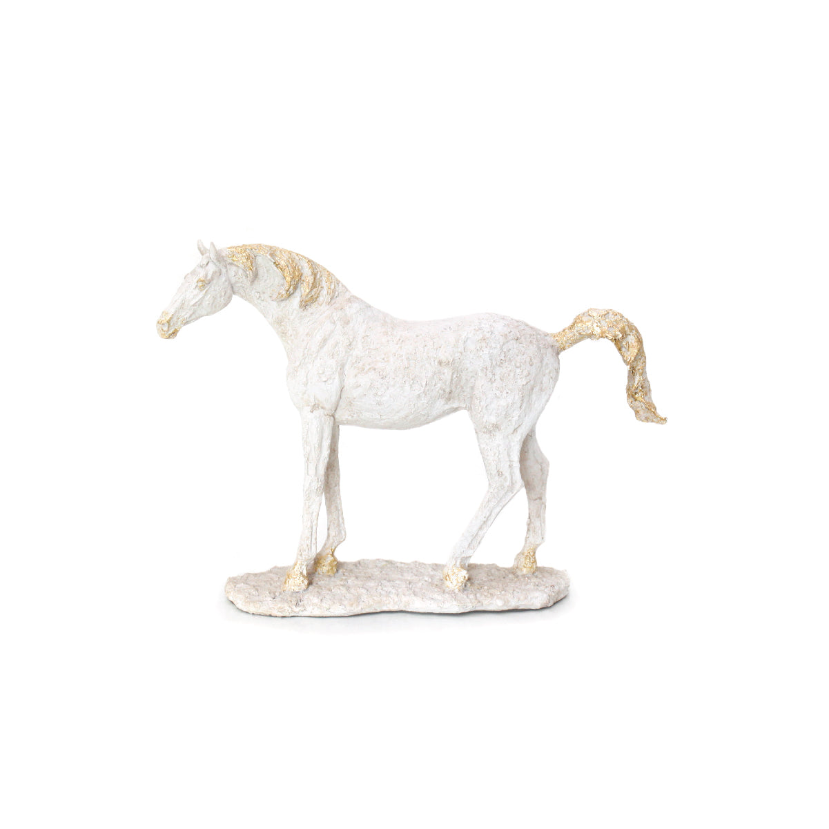 white and gold standing horse figurine home accessory