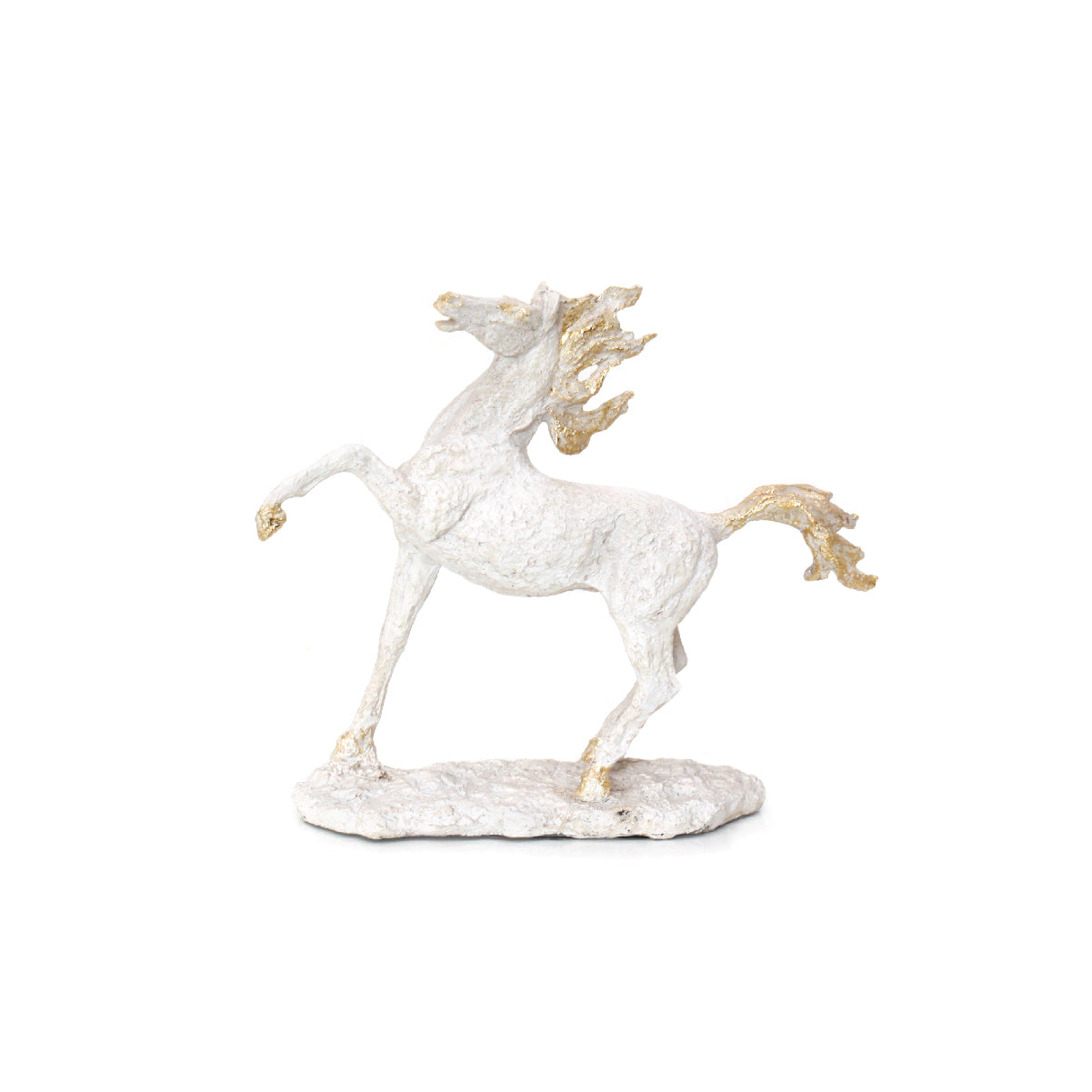 white and gold horse figurine home accessory