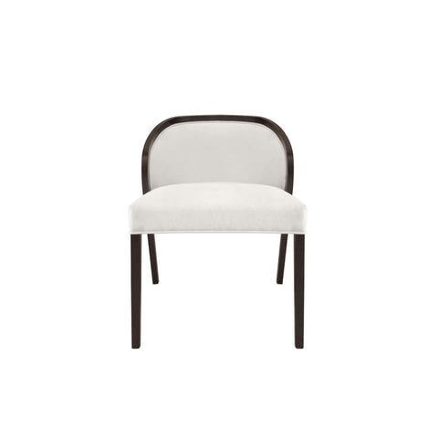 armless dining chair with low back and glossy wooden trim